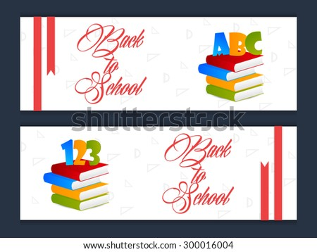 Nice and beautiful vector banners for Back to School with multiple colour books with red coloured pencil in a creative white colour seamless background. - stock vector
