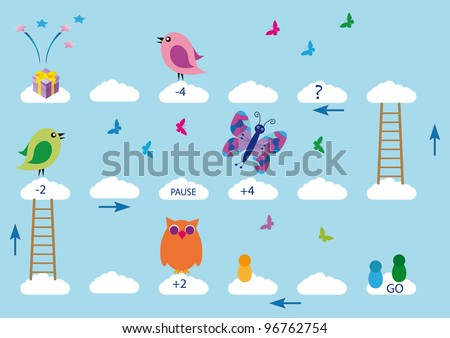 Nice and color board game for kids - stock vector