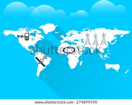 Nice and creative abstract for World Telecommunication Day with nice and creative world map in a crisp and cloudy blue colour background. - stock vector