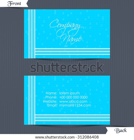 nice and creative vector abstract for Business Card or Visiting Card with dual side in a crisp blue colour textured in a white stripe design background. - stock vector