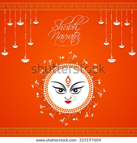 nice and creative vector abstract for Shubh Navratri with Maa Durga illustration in a gradient orange color in background. - stock vector