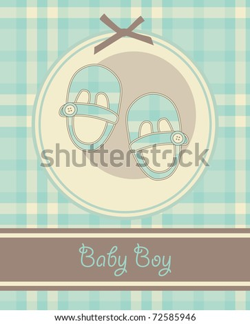 nice baby boy shoes arrival card. vector illustration - stock vector