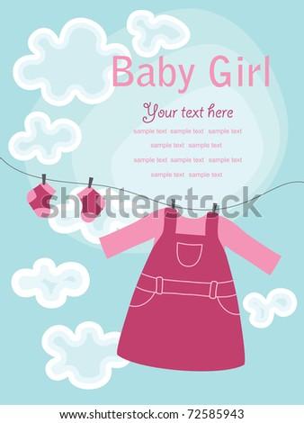 nice baby girl card. vector illustration - stock vector