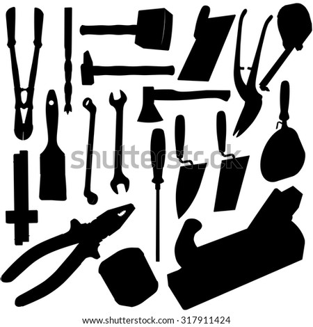 Nice big set of black construction tools - Silhouette Vectors, Axe, Brush, Drill, Hammer, Jack plane, Jerri can, Key, Mallet, Pair of clippers, Pliers, Roulette Meter Ruler - Screwdriver Trowel Wrench - stock vector