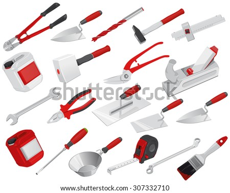 Nice big set of red construction tools - Vectors - Axe - Brush - Drill - Hammer - Jack plane - Jerrican - Key - Mallet - Pair of clippers - Pliers Roulette Meter Ruler - Screwdriver - Trowel - Wrench - stock vector