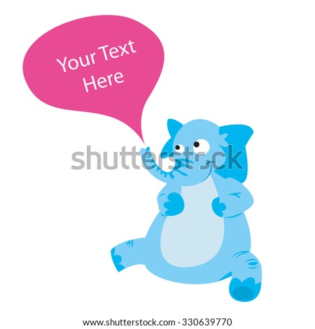 Nice blu elephant character design isolated on a white background, with a balloon coming out from the trunk. Vector image. - stock vector