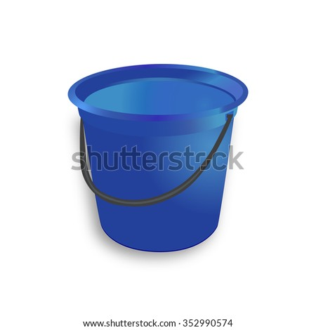 Nice Blue Plastic Bucket with black handle on white background- vector illustration - icon.  Design object element for garden.