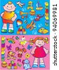 Nice boy and girl with toys. Happy childhood. Vector art-illustration. - stock vector