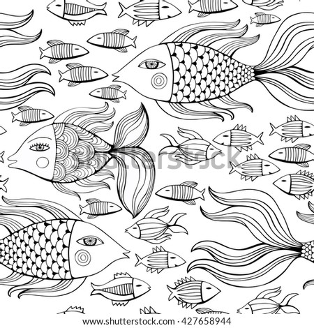 Nice cartoon monochrome fishes set. Vector seamless pattern.