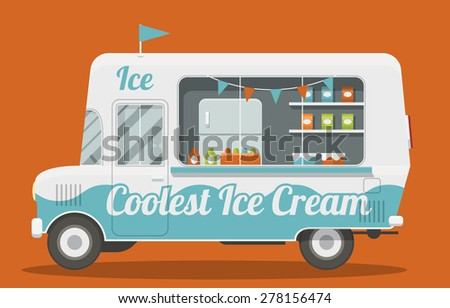 Nice cartoon style illustration of a ice cream van side view. It is Decorated with flags and painted blue and white. Packs of ice cream and a fridge inside. EPS10 vector image. - stock vector