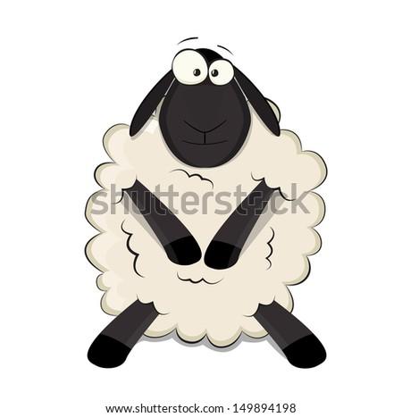 nice cartoon vector sheep - stock vector