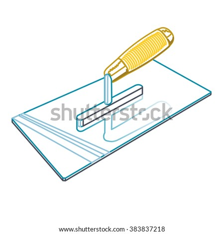 Nice classical outline four-sided stucco trowel on white background, yellow orange handle and blue head. Construction tools, isolated flatten illustration master vector icon, useful sign. - stock vector