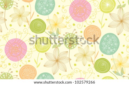 Nice floral seamless pattern made of stylish items