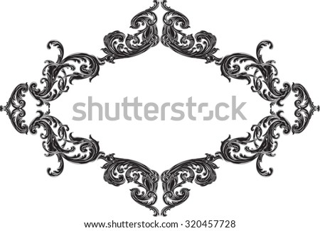 Nice frame with black acanthus pattern on white - stock vector
