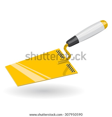Nice Golden Yellow Classical Trowel - Construction Tools - Vector - stock vector