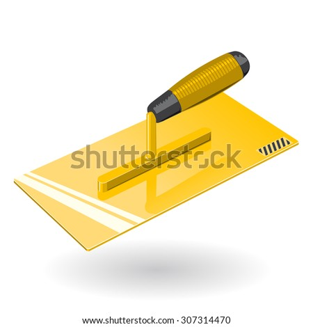 Nice Golden Yellow Pointed Trowel - Construction Tools - Vector - stock vector