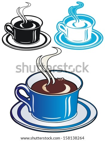 Nice hot coffee in a blue china cup - stock vector