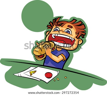 Nice illustration of hungry child about to eat a sandwich stuffed.