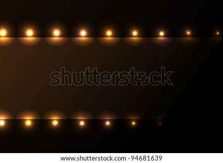 Nice light frame stage movie hollywood spotlight curtain background in orange color. - stock vector