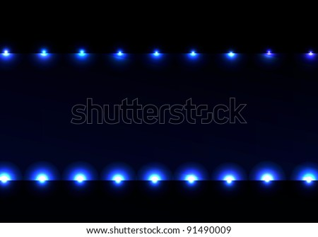 Nice lighting hollywood frame stage spotlight curtain background with blue plasma lights and dark background. Light stage show. - stock vector