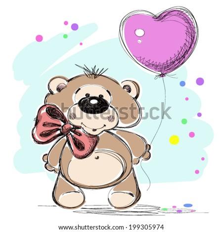 Nice little bear with a balloon. Vector illustration. - stock vector