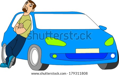 Nice looking man with goatee proudly leaning against car - stock vector