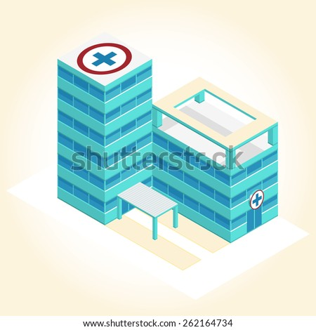 Nice medical isometric building - stock vector