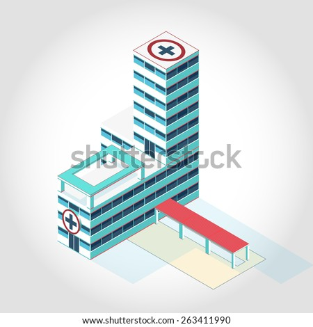 Nice medical isometric building. Illustration for scientific article, web blog and presentation. - stock vector