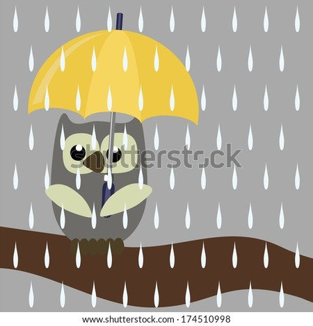 nice owl with umbrella - stock vector