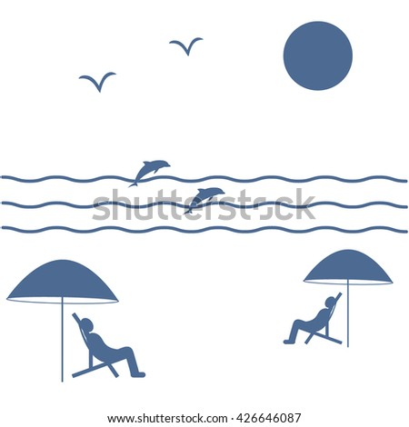 Nice picture on holiday by the sea: the sun, seagulls, dolphins, waves, people in beach chairs under umbrellas on a white background