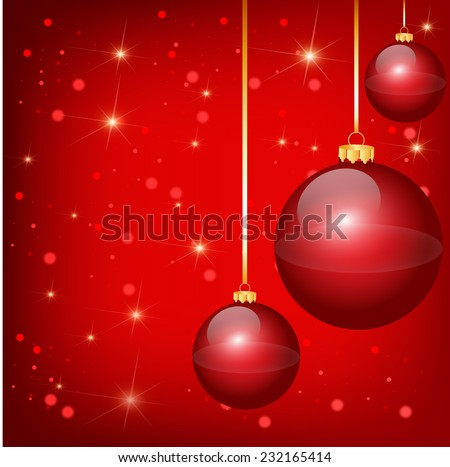 Nice red christmas balls on the red background - stock vector