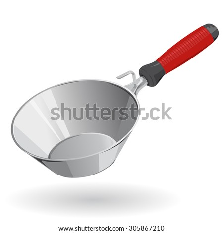 Nice red rounded Trowel  - Construction Tools - Vector - stock vector