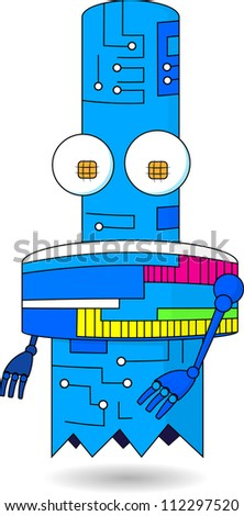 nice robot with the scheme on the case soars in air - stock vector