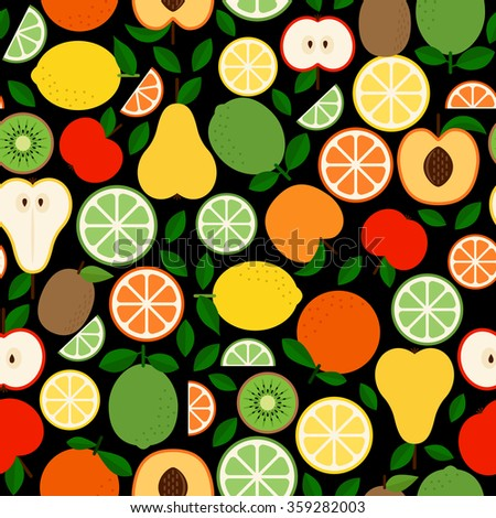 Nice seamless pattern with fruits and their halves on the dark background