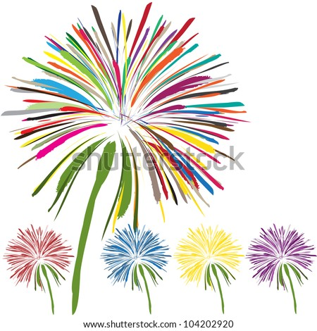 nice set of beautiful flowers on white background - stock vector