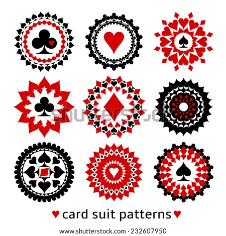 Nice set of card suit round patterns. Casino gambling illustrations for decor or background. - stock vector