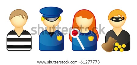 nice set of icons representing people isolated over white - thief, prisoner, police and burglar - stock vector