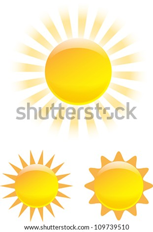 Nice set of shining sun images. Vector illustration - stock vector