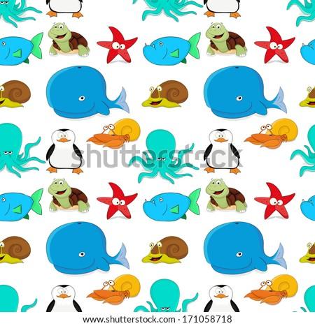 Nice texture of sea animals - stock vector