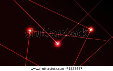 Nice vector laser light in red color and dark background. Beam. - stock vector