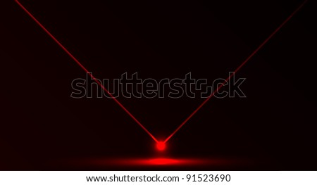 Nice vector laser light in red color and dark background. Beam and ray. - stock vector