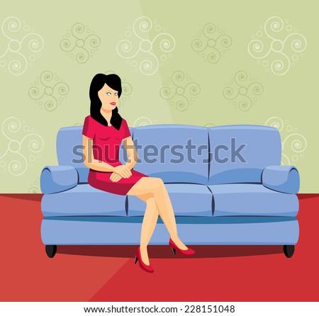 Nice woman sitting on the sofa - vector illustration - stock vector