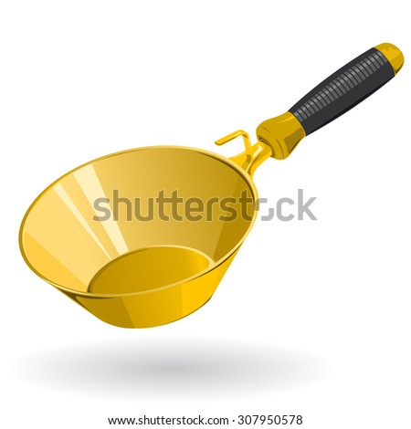 Nice Yellow Golden Rounded Trowel  - Construction Tools - Vector - stock vector