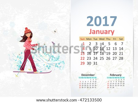 nice young woman on cross country skiing. fun Calendar for 2017, january