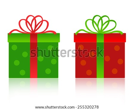 Nicely wrapped red christmas gift box with green ribbon and bow. and green box with red ribbon and bow isolated on white background - stock vector