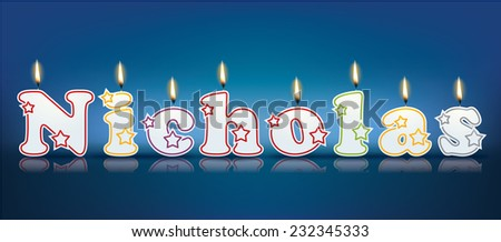 NICHOLAS written with burning candles - vector illustration