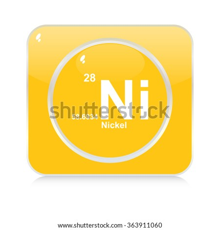nickel chemical element button - stock vector