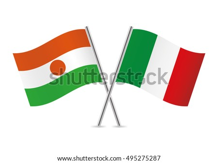 Niger and Italy flags. Vector illustration.