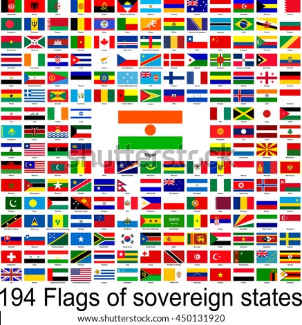 Niger, collection of vector images of flags of the world