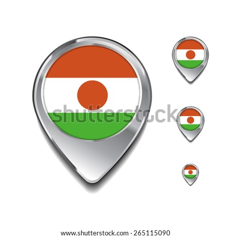 Niger flag map pointer. 3d Map Pointer with flag glossy button style on gray background - stock vector